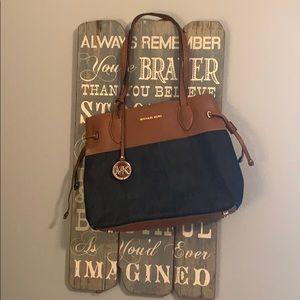 Michael Kors Leather and Denim Shoulder Bag
